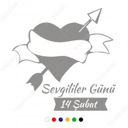14 Şubat  Sevgililer Günü Yazısı ve Kalp 105x105cm Sticker