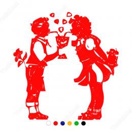Sevgililer Günü İki Aşık Birlikte Paylaşım Sticker Yapıştırma