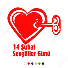 Sevgililer Günü Kilitli Kalp Motifi Sticker Yapıştırma