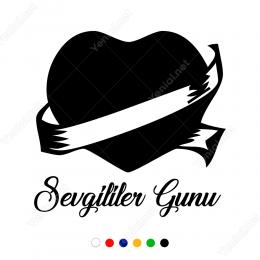 Sevgililer Günü Kurdela ile Sarılmış Kalp Sticker Yapıştırma