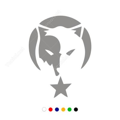 Siyah Beyaz Denge Kurt Ay Yıldız Sticker Çıkartma