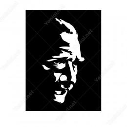 Siyah Zeminli Yan Bakan Atatürk Görseli Sticker