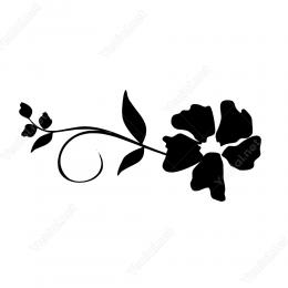 Sola Doğru Filiz Açmış Çiçek Deseni Duvar Stickerı