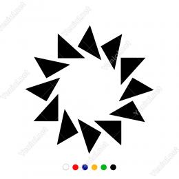 Üçgenden Oluşmuş Sprial Sticker  Yapıştırma Süsleme