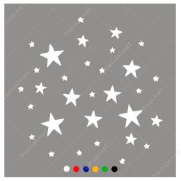 Vitrin Süslemeleri Büyüklü Küçüklü Yıldızlar Stickerı