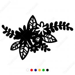 Vitrin Süslemeleri İçi Dolgulu Çiçek Sticker