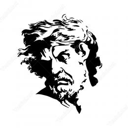 Yana Doğru Bakan Yunan Heykeli Duvar Stickerı