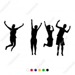 Yerden Zıplayan Mutlu İnsanlar Duvar Sticker
