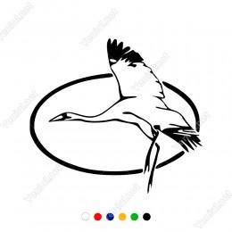 Yuvarlak İçinde Simge Şeklinde Uçan Leylek Sticker