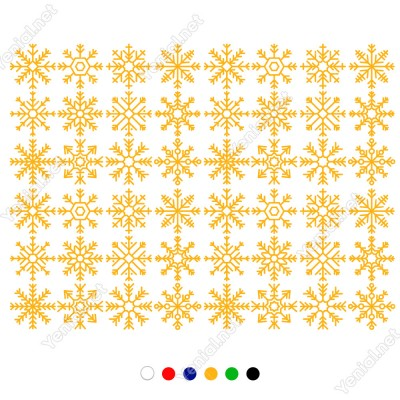 Çeşitli Kar Taneleri Yılbaşı Süslemesi 40 Adet 115x85cm
