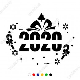 Yılbaşı Süslemeleri Yıldızlı Kartaneli 2020 Çıkartma