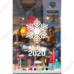 Yılbaşı Süslemeleri Kar Tanesi ve Mutlu Yıllar 2020 90x53cm