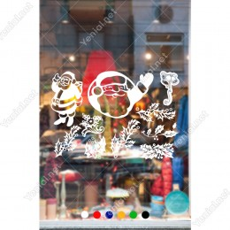 Yılbaşı Süslemeleri Yaprak ve Noel Baba Stickerları 115x78cm