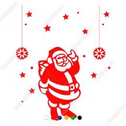 Yılbaşı Süslemeleri Yıldız ve Noel Baba Stickerları 115x88cm