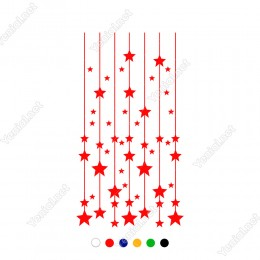 Yukarıdan Aşağıya Uzun İp İle Sallanan Bir çok Yıldız Yılbaşı Süslemeleri