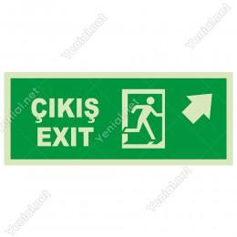 Çıkış Exit Sağ Üst Ok Lümen Folyo Levhası
