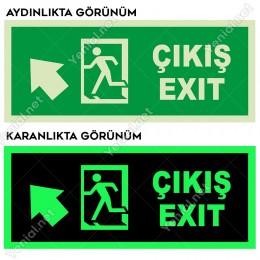 Çıkış Exit Sol Üst Ok Lümen Folyo Levhası