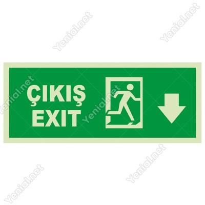 Exit Çıkış Aşağı Ok Lümen Folyo Levhası