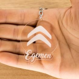 Citroen Logolu İsme Özel - Kişiye Özel Pleksi Anahtarlık - Arkadaşa, Sevgiliye Eşe Hediye