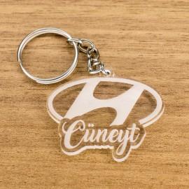Hyundai Logolu İsme Özel - Kişiye Özel Pleksi Anahtarlık - Arkadaşa, Sevgiliye Eşe Hediye