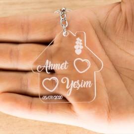 İsminize Özel Bacalı Ev Kalp - Kişiye Özel Pleksi Anahtarlık - Sevgiliye Eşe Hediye 2 Adet