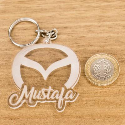 Mazda Logolu İsme Özel - Kişiye Özel Pleksi Anahtarlık - Arkadaşa, Sevgiliye Eşe Hediye