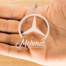 Mercedes Logolu İsme Özel - Kişiye Özel Pleksi Anahtarlık - Arkadaşa, Sevgiliye Eşe Hediye