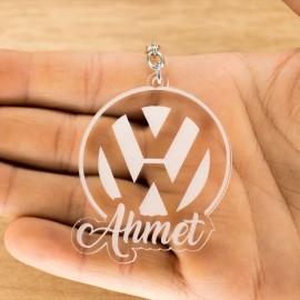 Volkswagen Logolu İsme Özel - Kişiye Özel Pleksi Anahtarlık - Arkadaşa, Sevgiliye Eşe Hediye