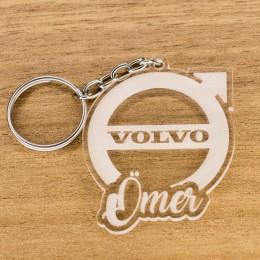 Volvo Logolu İsme Özel - Kişiye Özel Pleksi Anahtarlık - Arkadaşa, Sevgiliye Eşe Hediye