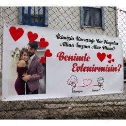 Fotoğraflı Kalpli Çerçevesiz Benimle Evlenir Misin Branda Afisi