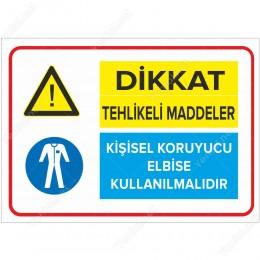 Tehlike Tehlikeli Maddeler Kişisel Koruyucu Eldiven Kullanılmalıdır Levhası