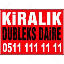 Kiralık Dubleks Daire Branda Branda Afişi (Kırmızı Renk)