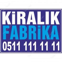 Kiralık Fabrika Branda Branda Afişi (Mavi Renk)
