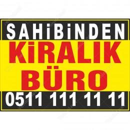 Sahibinden Kiralık Büro Branda Afişi (Sarı Siyah Renk)