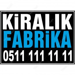 Kiralık Fabrika Branda Afişi (Siyah Mavi Renk)
