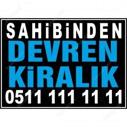 Sahibinden Devren Kiralık Branda Afişi(Siyah Mavi Renk)