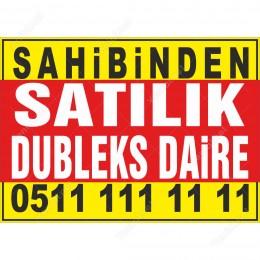 Sahibinden Satılık Dubleks Daire Branda Afişi (Sarı Mavi Renk)