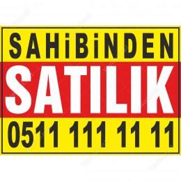 Sahibinden Satılık Branda Afişi (Sarı Kırmızı Renk)