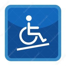 Engelli Wc Şekilli Mavi Yönlendirme Levhası
