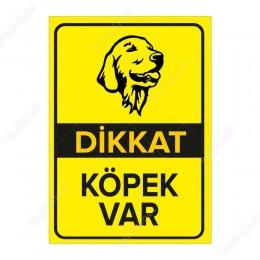 Dikkat Köpek Var Levhası Golden Retriever